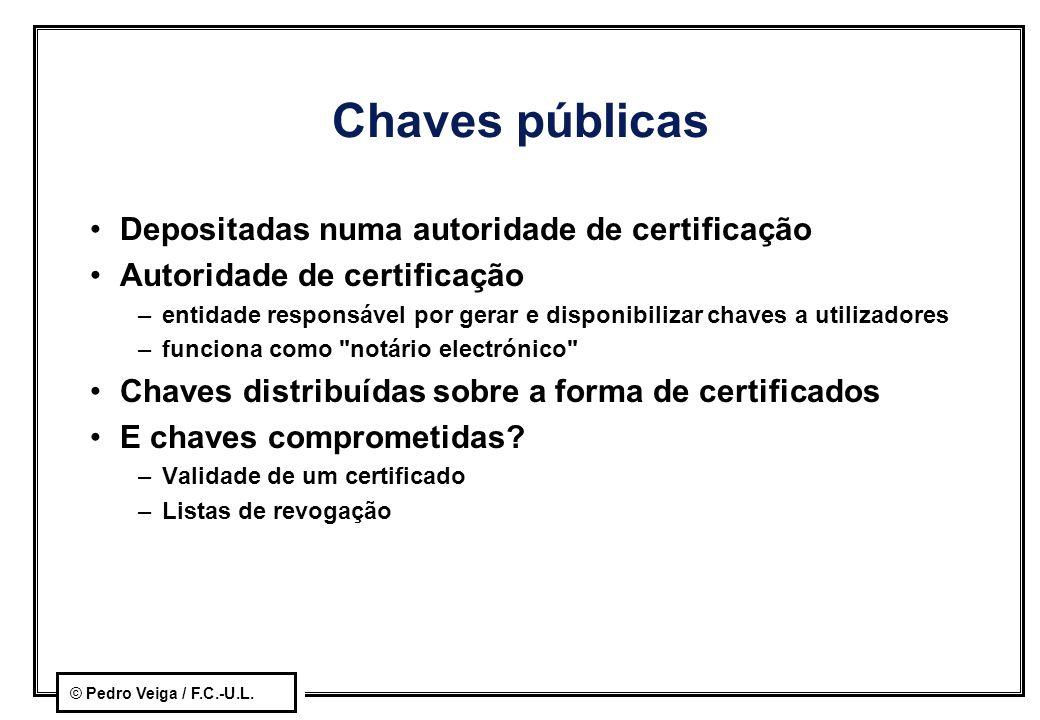 © Pedro Veiga / F.C.-U.L. Chaves públicas Depositadas numa autoridade de certificação Autoridade de certificação –entidade responsável por gerar e dis