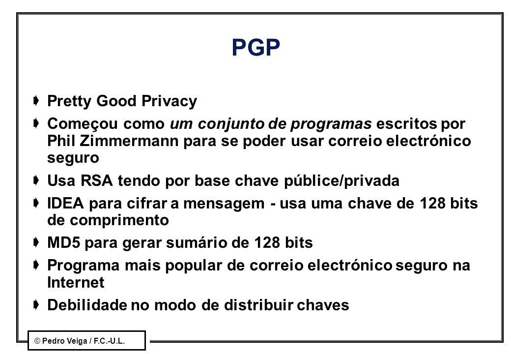 © Pedro Veiga / F.C.-U.L. PGP  Pretty Good Privacy  Começou como um conjunto de programas escritos por Phil Zimmermann para se poder usar correio el