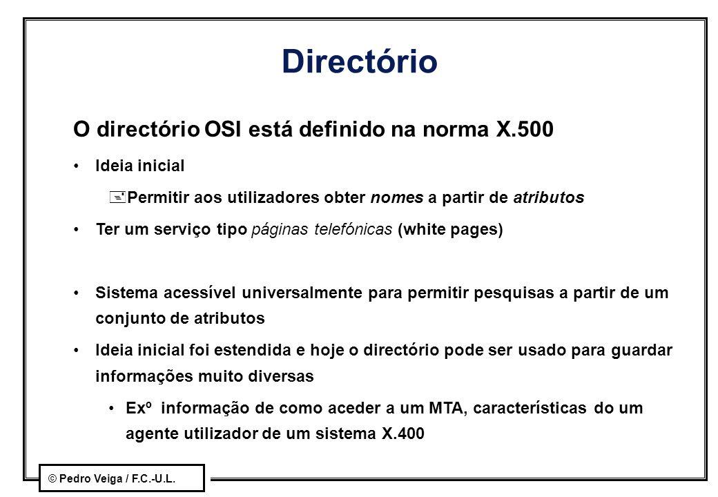 © Pedro Veiga / F.C.-U.L. Directório O directório OSI está definido na norma X.500 Ideia inicial +Permitir aos utilizadores obter nomes a partir de at