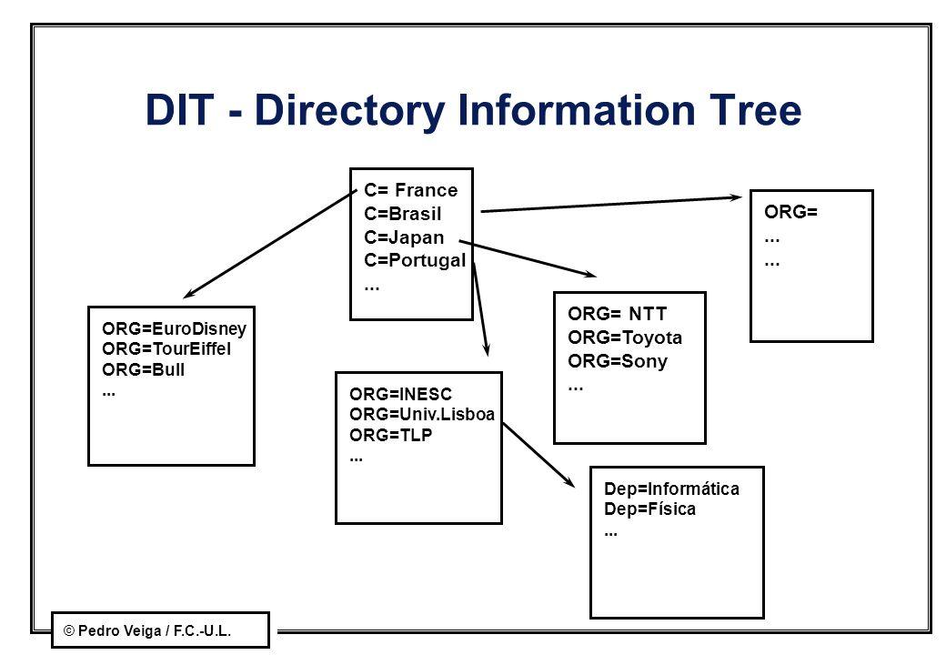 © Pedro Veiga / F.C.-U.L. DIT - Directory Information Tree C= France C=Brasil C=Japan C=Portugal... ORG=EuroDisney ORG=TourEiffel ORG=Bull... ORG= NTT