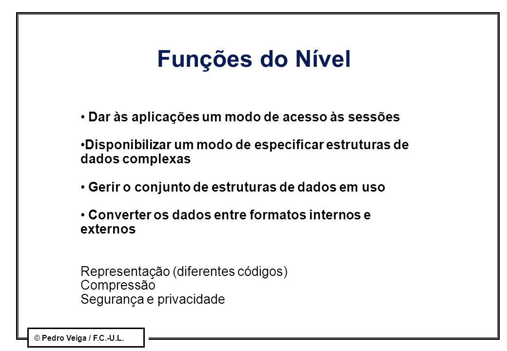 © Pedro Veiga / F.C.-U.L. Funções do Nível Dar às aplicações um modo de acesso às sessões Disponibilizar um modo de especificar estruturas de dados co