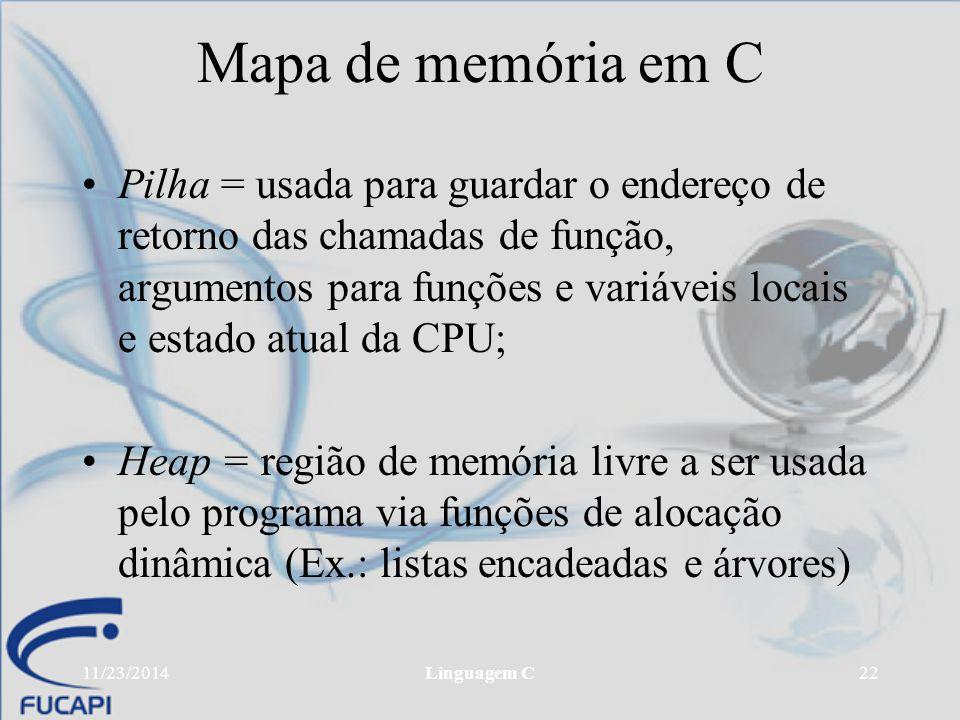 11/23/2014Linguagem C22 Mapa de memória em C Pilha = usada para guardar o endereço de retorno das chamadas de função, argumentos para funções e variáv