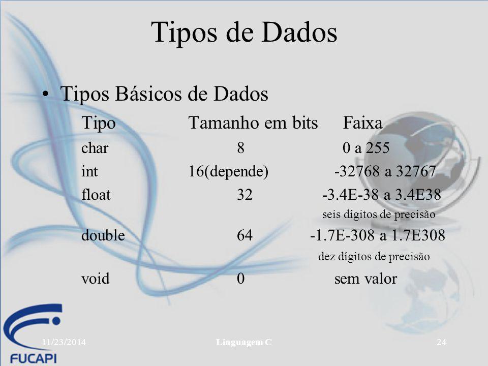 11/23/2014Linguagem C24 Tipos de Dados Tipos Básicos de Dados Tipo Tamanho em bits Faixa char8 0 a 255 int 16(depende)-32768 a 32767 float32 -3.4E-38