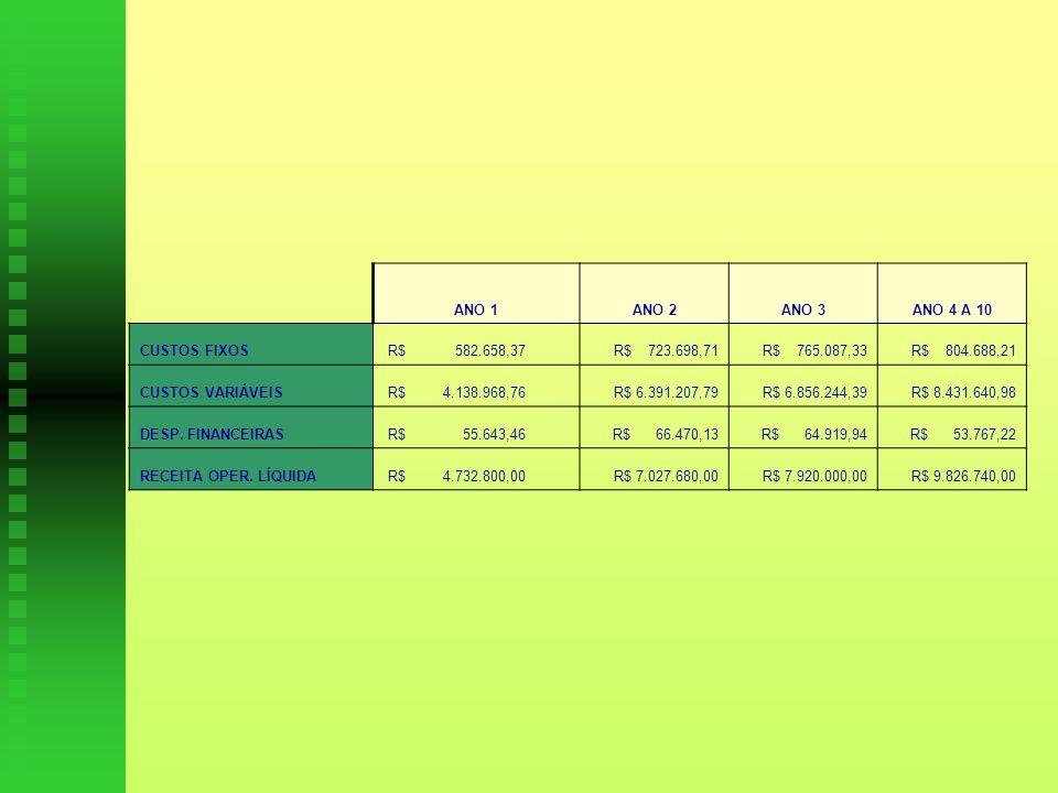 ANO 1ANO 2ANO 3ANO 4 A 10 CUSTOS FIXOS R$ 582.658,37 R$ 723.698,71 R$ 765.087,33 R$ 804.688,21 CUSTOS VARIÁVEIS R$ 4.138.968,76 R$ 6.391.207,79 R$ 6.856.244,39 R$ 8.431.640,98 DESP.