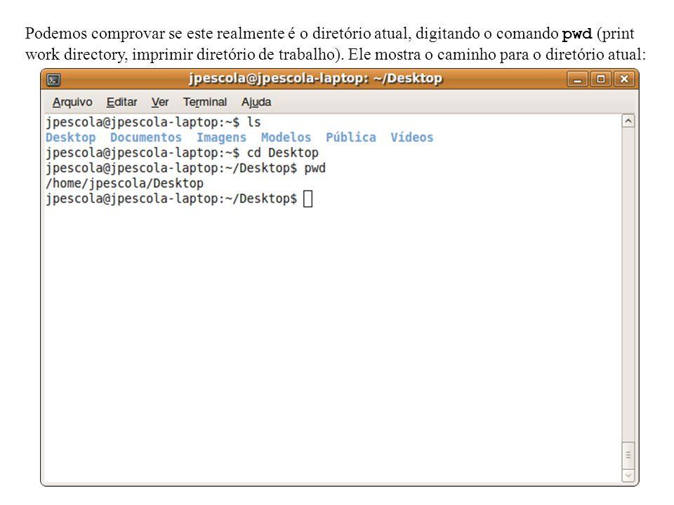Podemos comprovar se este realmente é o diretório atual, digitando o comando pwd (print work directory, imprimir diretório de trabalho).