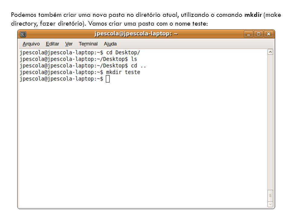 Podemos também criar uma nova pasta no diretório atual, utilizando o comando mkdir (make directory, fazer diretório).