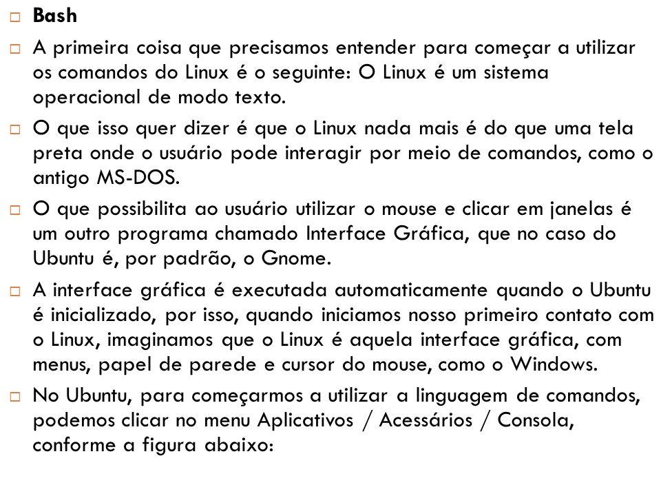  Veja que na pasta pessoal do usuário, o Ubuntu cria algumas pastas padrão, como a pasta Documentos, Imagens etc.