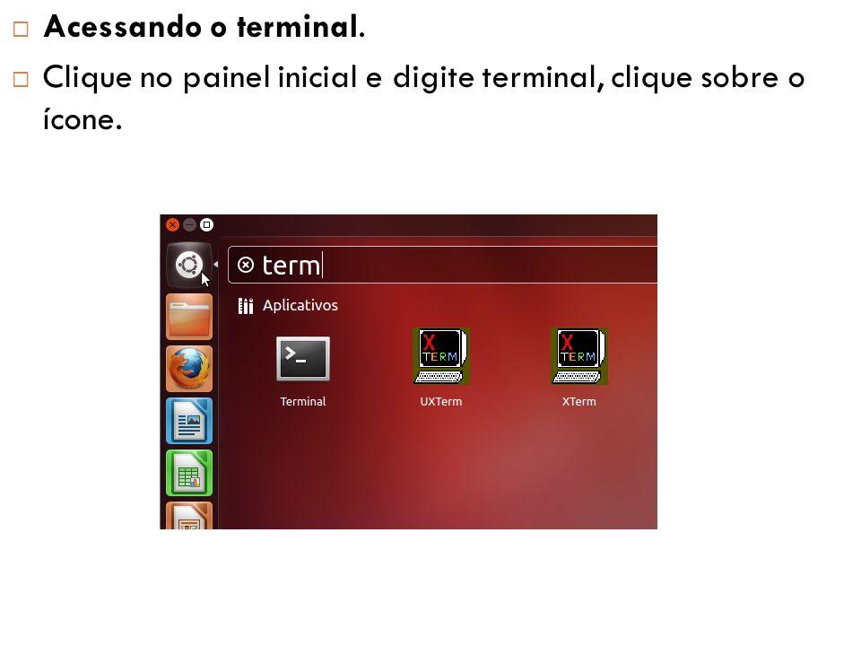  Acessando o terminal.  Clique no painel inicial e digite terminal, clique sobre o ícone.