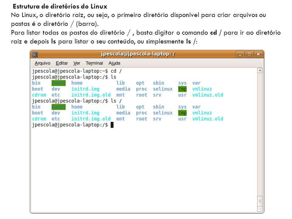 Estrutura de diretórios do Linux No Linux, o diretório raiz, ou seja, o primeiro diretório disponível para criar arquivos ou pastas é o diretório / (barra).