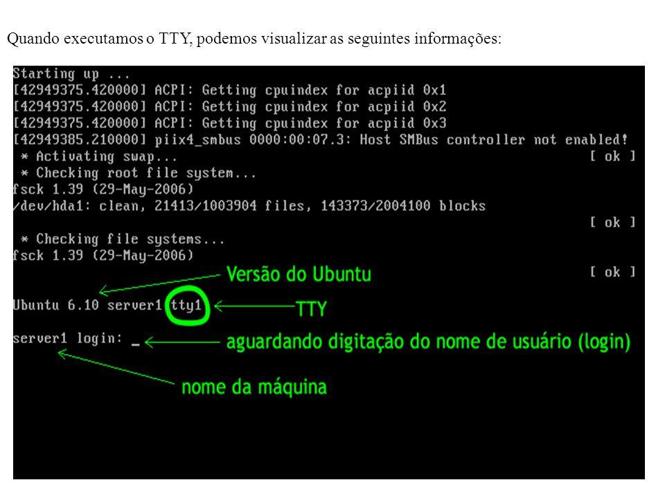  Da mesma forma que o Linux solicita o nome de usuário e senha quando ligamos o computador, o tty também solicita essa informação.