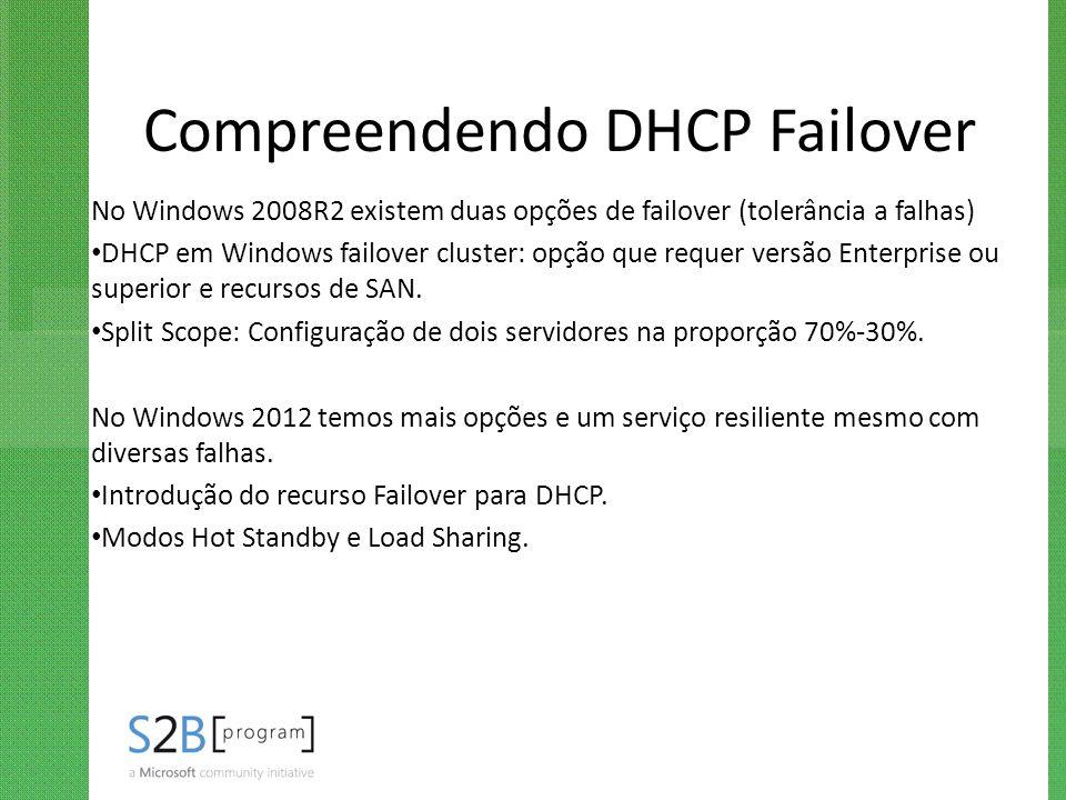 Compreendendo DHCP Failover No Windows 2008R2 existem duas opções de failover (tolerância a falhas) DHCP em Windows failover cluster: opção que requer