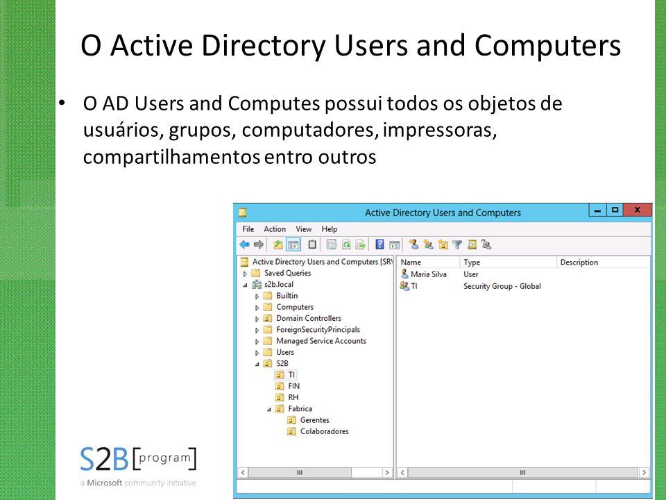 O Active Directory Users and Computers O AD Users and Computes possui todos os objetos de usuários, grupos, computadores, impressoras, compartilhament