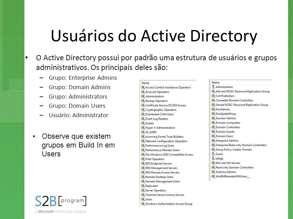 Usuários do Active Directory O Active Directory possui por padrão uma estrutura de usuários e grupos administrativos. Os principais deles são: – Grupo