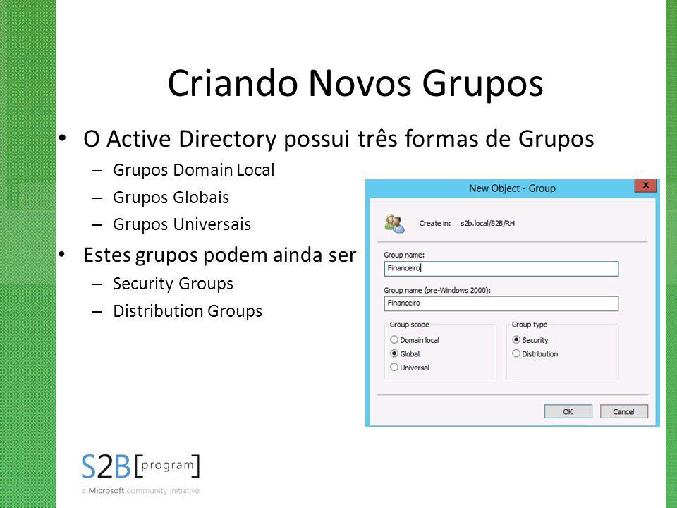 Criando Novos Grupos O Active Directory possui três formas de Grupos – Grupos Domain Local – Grupos Globais – Grupos Universais Estes grupos podem ain
