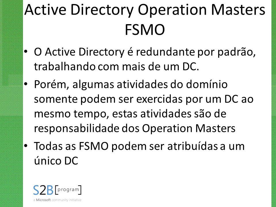 Active Directory Operation Masters FSMO O Active Directory é redundante por padrão, trabalhando com mais de um DC. Porém, algumas atividades do domíni