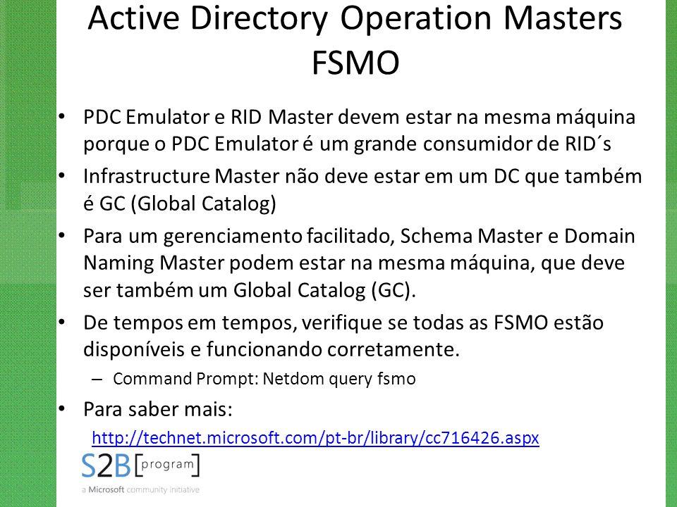 Active Directory Operation Masters FSMO PDC Emulator e RID Master devem estar na mesma máquina porque o PDC Emulator é um grande consumidor de RID´s I