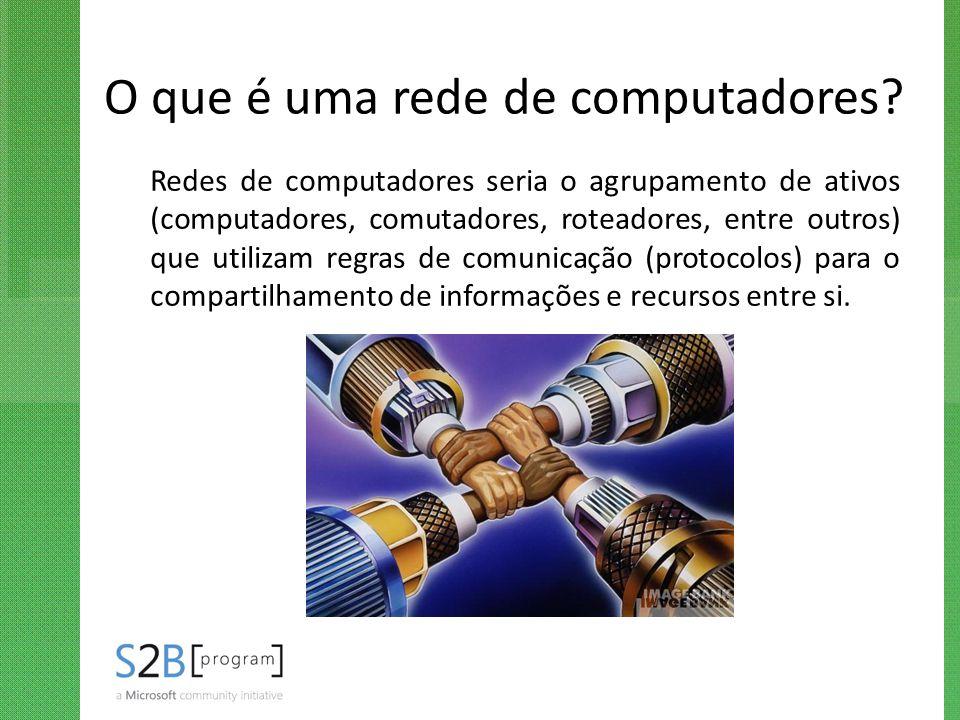 O que é uma rede de computadores? Redes de computadores seria o agrupamento de ativos (computadores, comutadores, roteadores, entre outros) que utiliz