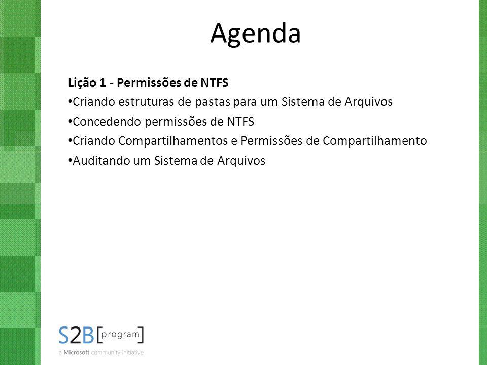 Agenda Lição 1 - Permissões de NTFS Criando estruturas de pastas para um Sistema de Arquivos Concedendo permissões de NTFS Criando Compartilhamentos e
