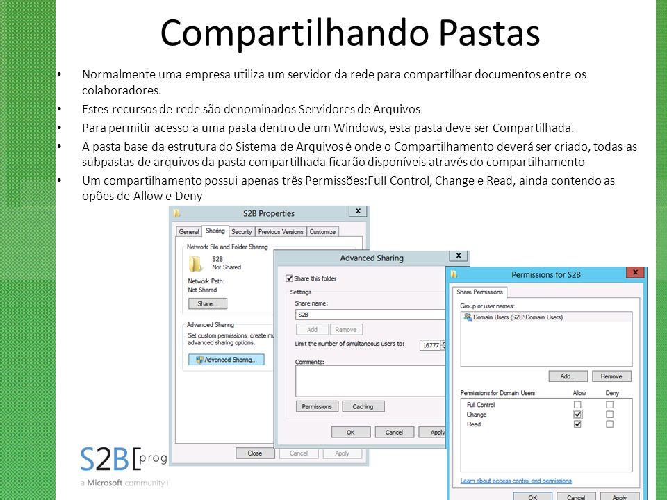 Compartilhando Pastas Normalmente uma empresa utiliza um servidor da rede para compartilhar documentos entre os colaboradores. Estes recursos de rede