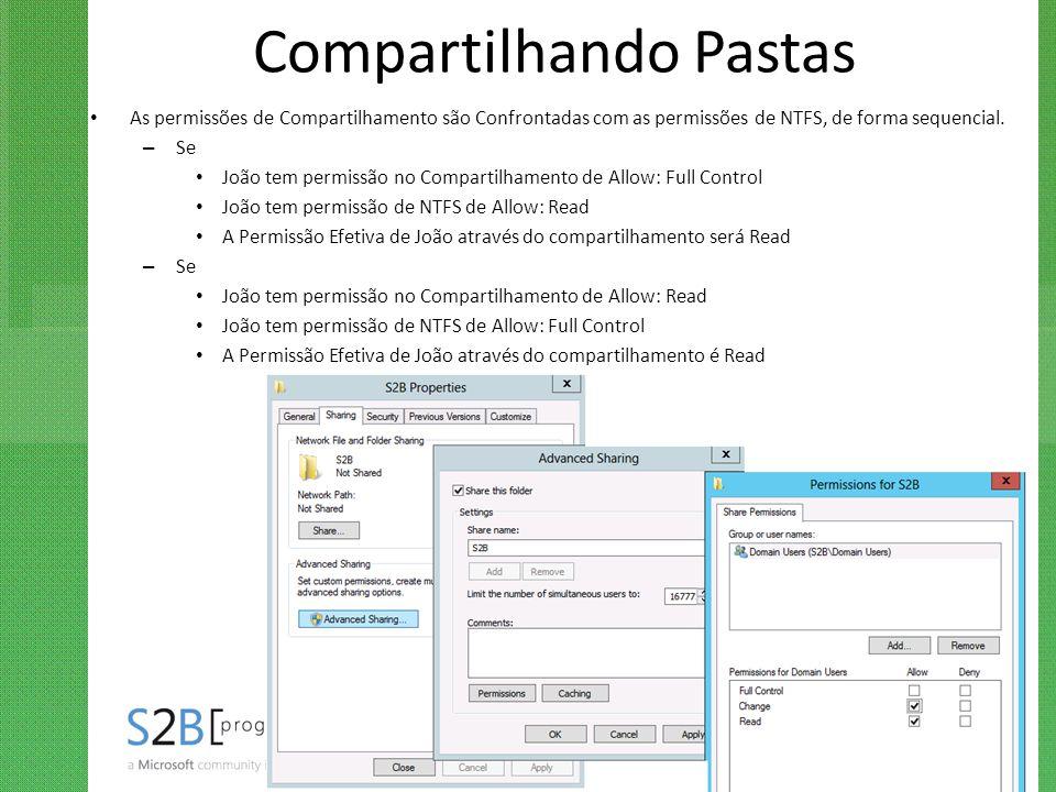 Compartilhando Pastas As permissões de Compartilhamento são Confrontadas com as permissões de NTFS, de forma sequencial. – Se João tem permissão no Co