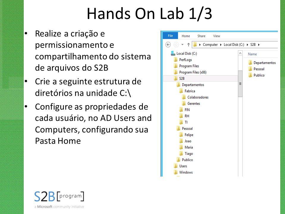 Hands On Lab 1/3 Realize a criação e permissionamento e compartilhamento do sistema de arquivos do S2B Crie a seguinte estrutura de diretórios na unid