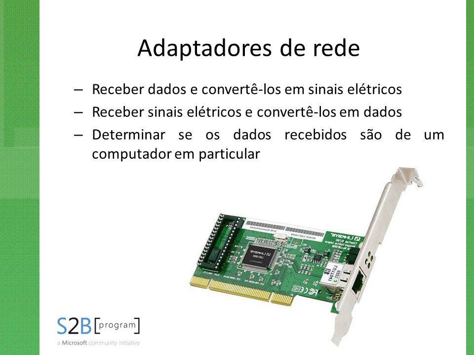 Adaptadores de rede – Receber dados e convertê-los em sinais elétricos – Receber sinais elétricos e convertê-los em dados – Determinar se os dados rec