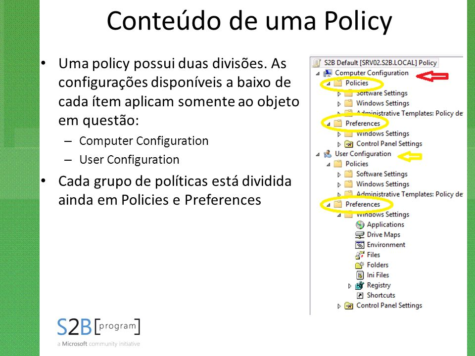 Conteúdo de uma Policy Uma policy possui duas divisões. As configurações disponíveis a baixo de cada ítem aplicam somente ao objeto em questão: – Comp