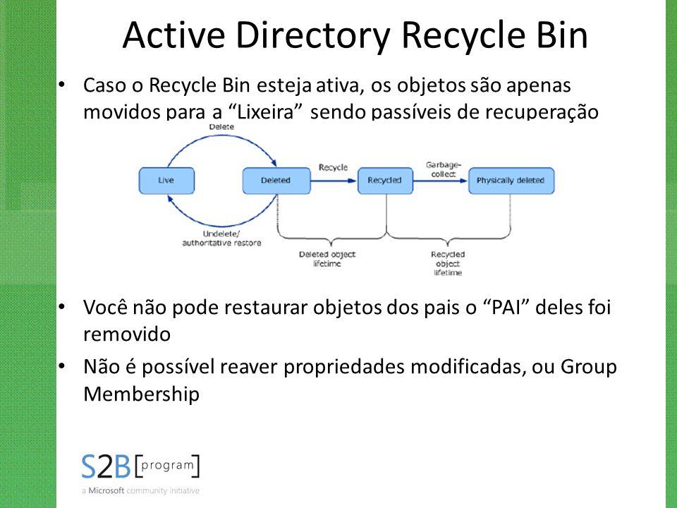 """Active Directory Recycle Bin Caso o Recycle Bin esteja ativa, os objetos são apenas movidos para a """"Lixeira"""" sendo passíveis de recuperação Você não p"""