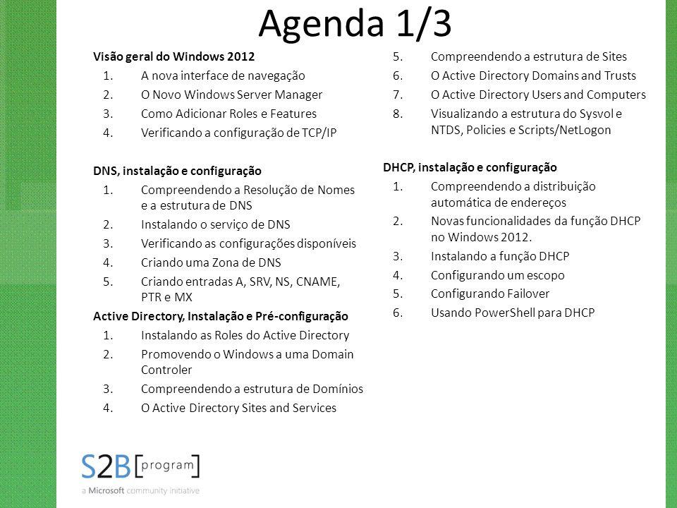 Agenda 1/3 Visão geral do Windows 2012 1.A nova interface de navegação 2.O Novo Windows Server Manager 3.Como Adicionar Roles e Features 4.Verificando