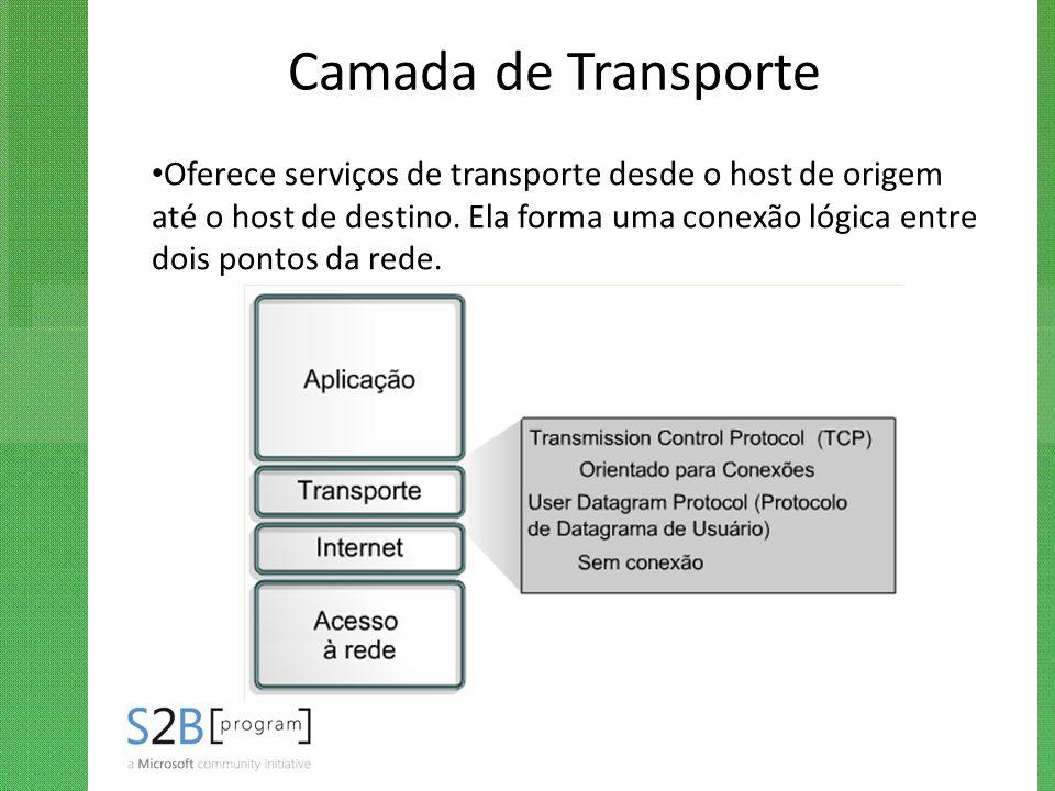 Camada de Transporte Oferece serviços de transporte desde o host de origem até o host de destino. Ela forma uma conexão lógica entre dois pontos da re