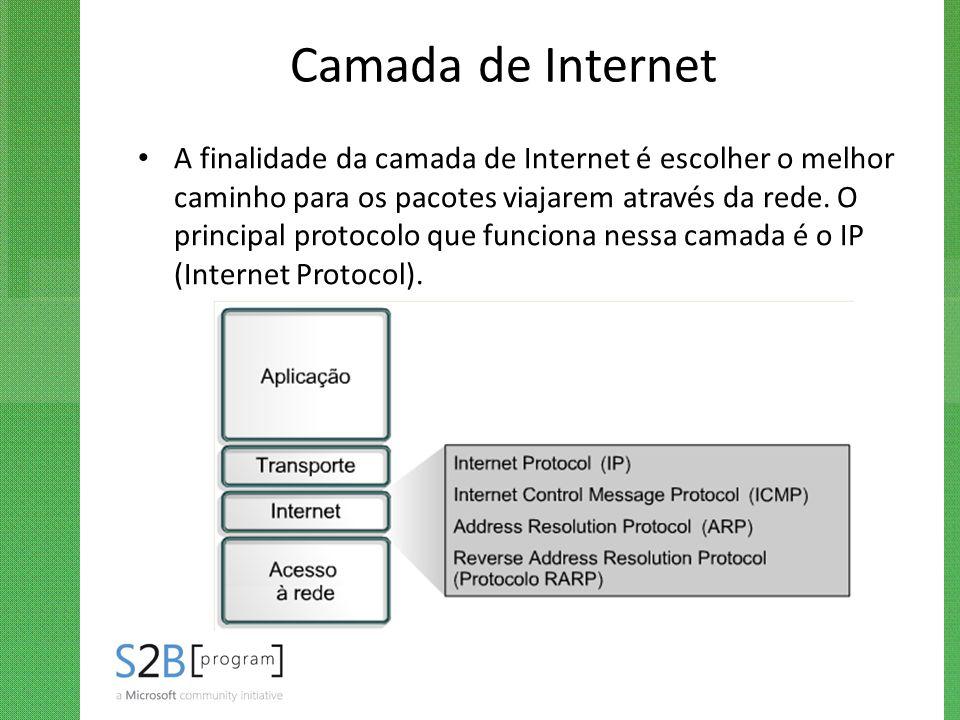 Camada de Internet A finalidade da camada de Internet é escolher o melhor caminho para os pacotes viajarem através da rede. O principal protocolo que