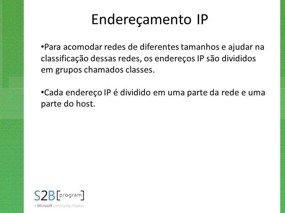 Endereçamento IP Para acomodar redes de diferentes tamanhos e ajudar na classificação dessas redes, os endereços IP são divididos em grupos chamados c