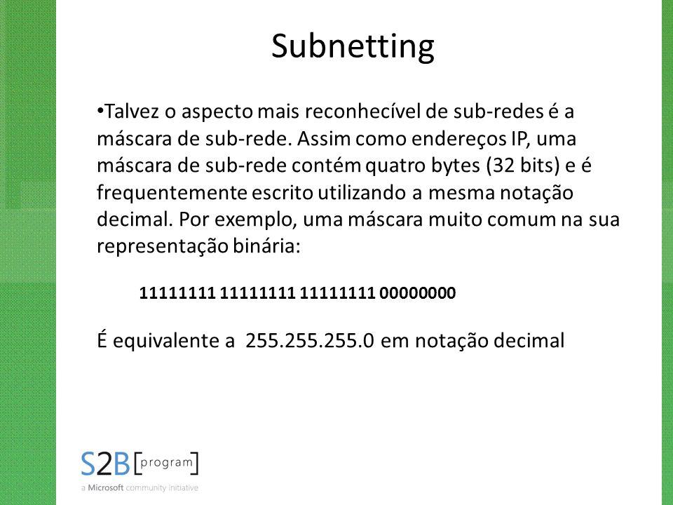 Subnetting Talvez o aspecto mais reconhecível de sub-redes é a máscara de sub-rede. Assim como endereços IP, uma máscara de sub-rede contém quatro byt