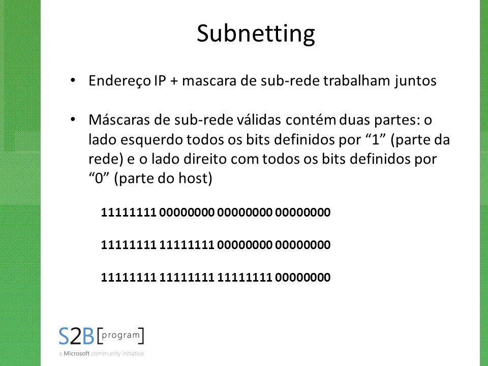Subnetting Endereço IP + mascara de sub-rede trabalham juntos Máscaras de sub-rede válidas contém duas partes: o lado esquerdo todos os bits definidos