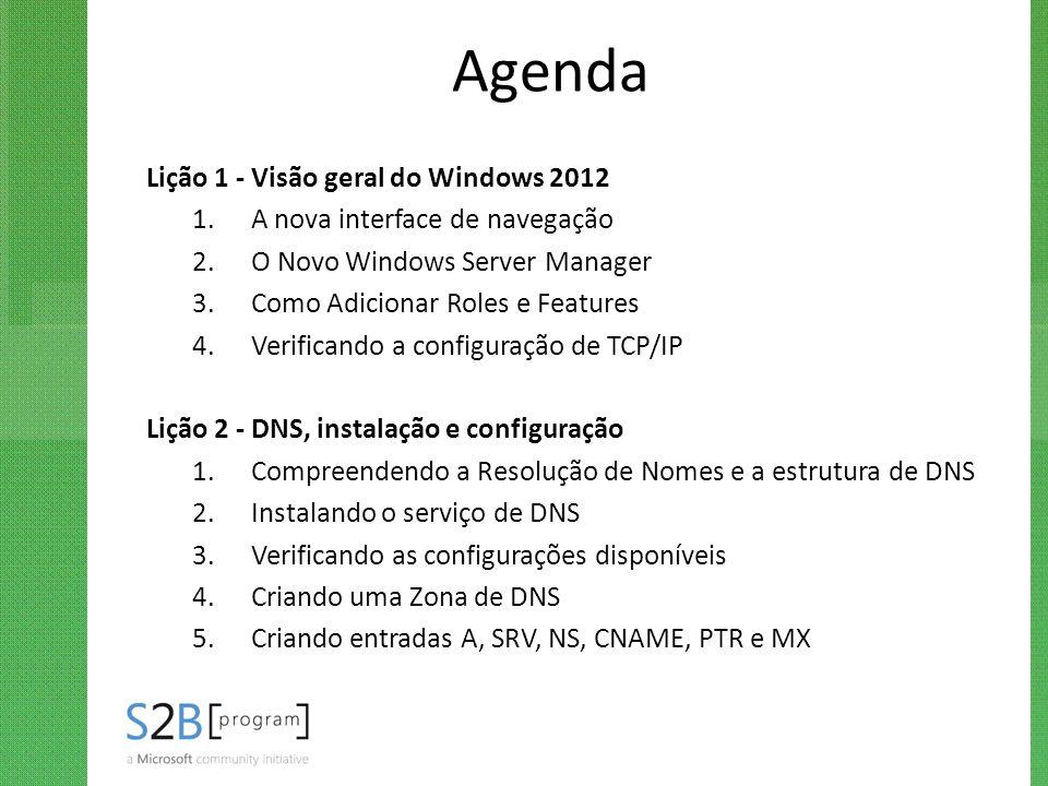 Agenda Lição 1 - Visão geral do Windows 2012 1.A nova interface de navegação 2.O Novo Windows Server Manager 3.Como Adicionar Roles e Features 4.Verif