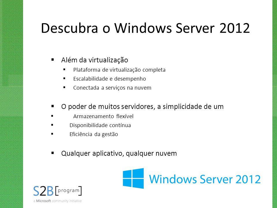 Descubra o Windows Server 2012  Além da virtualização  Plataforma de virtualização completa  Escalabilidade e desempenho  Conectada a serviços na