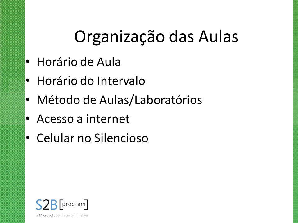 Organização das Aulas Horário de Aula Horário do Intervalo Método de Aulas/Laboratórios Acesso a internet Celular no Silencioso