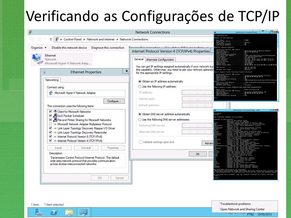 Verificando as Configurações de TCP/IP