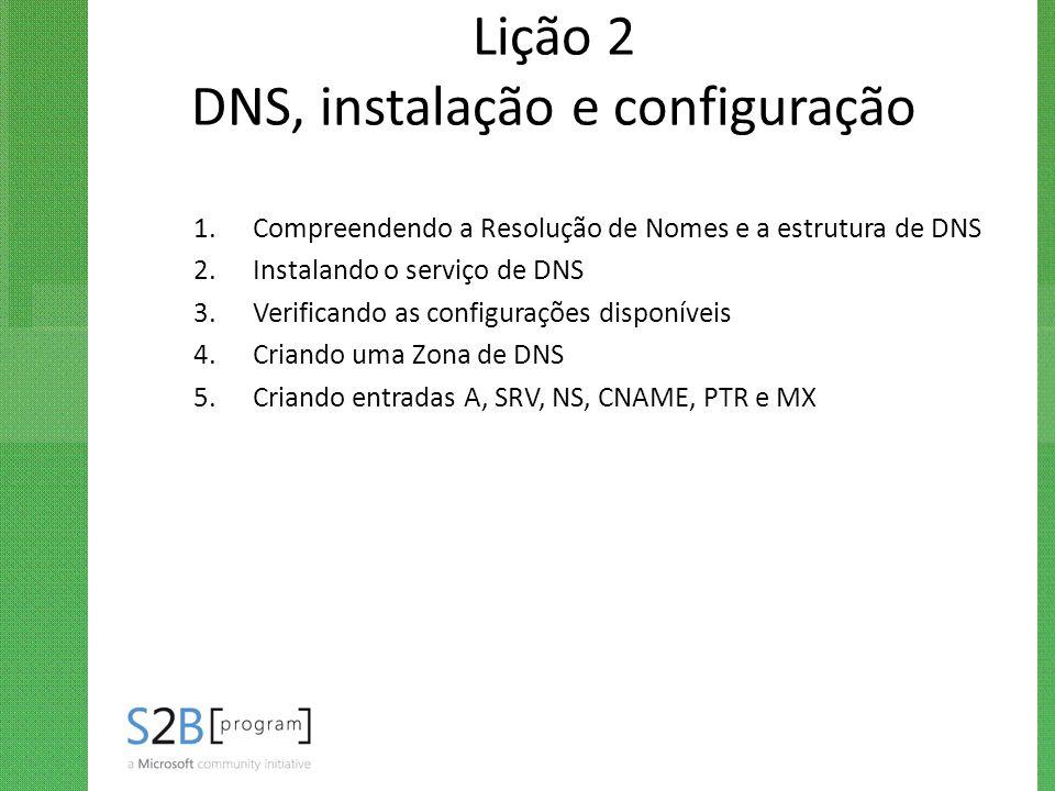Lição 2 DNS, instalação e configuração 1.Compreendendo a Resolução de Nomes e a estrutura de DNS 2.Instalando o serviço de DNS 3.Verificando as config