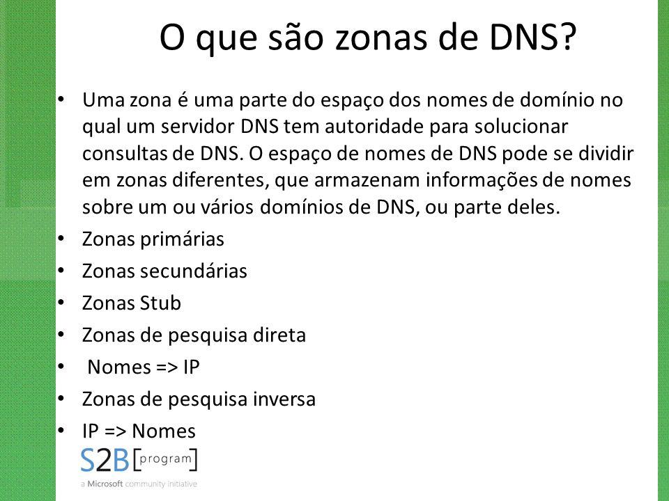 O que são zonas de DNS? Uma zona é uma parte do espaço dos nomes de domínio no qual um servidor DNS tem autoridade para solucionar consultas de DNS. O