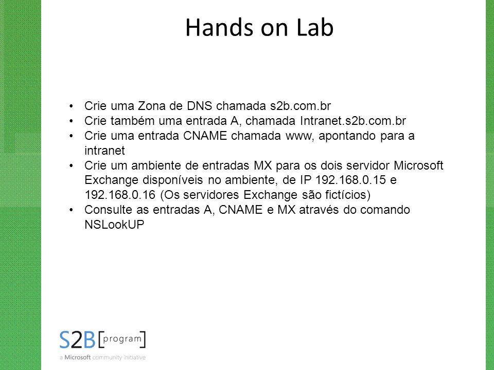 Hands on Lab Crie uma Zona de DNS chamada s2b.com.br Crie também uma entrada A, chamada Intranet.s2b.com.br Crie uma entrada CNAME chamada www, aponta