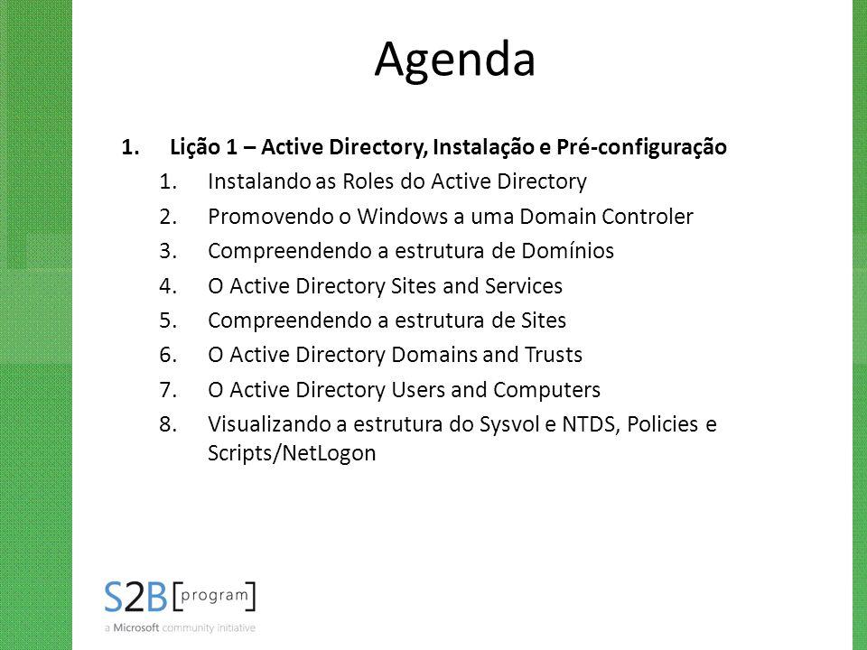 Agenda 1.Lição 1 – Active Directory, Instalação e Pré-configuração 1.Instalando as Roles do Active Directory 2.Promovendo o Windows a uma Domain Contr