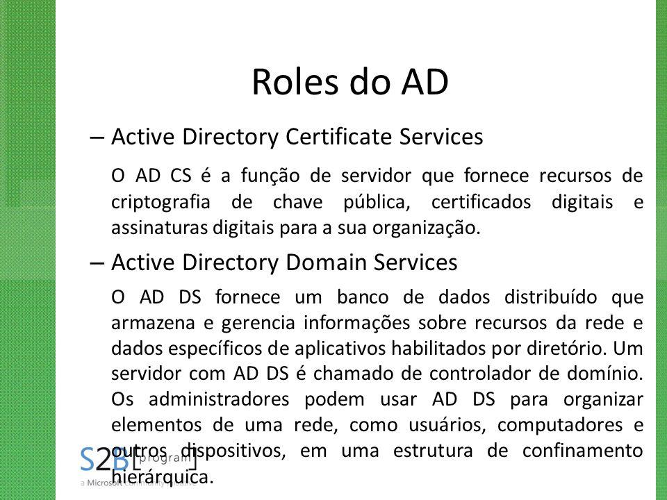 Roles do AD – Active Directory Certificate Services O AD CS é a função de servidor que fornece recursos de criptografia de chave pública, certificados