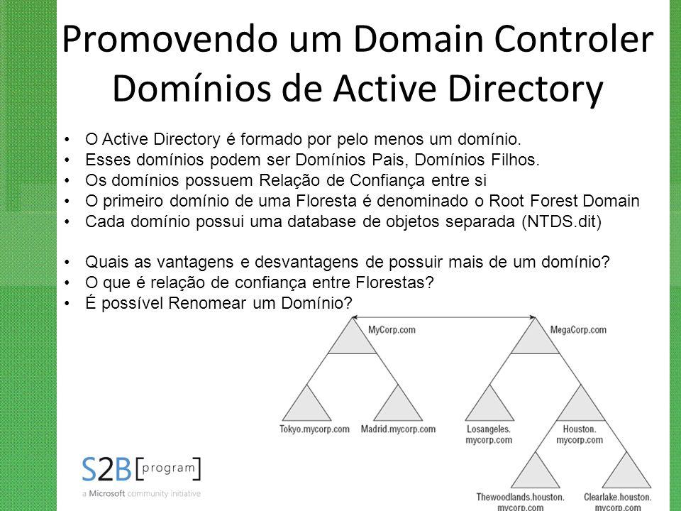 Promovendo um Domain Controler Domínios de Active Directory O Active Directory é formado por pelo menos um domínio. Esses domínios podem ser Domínios