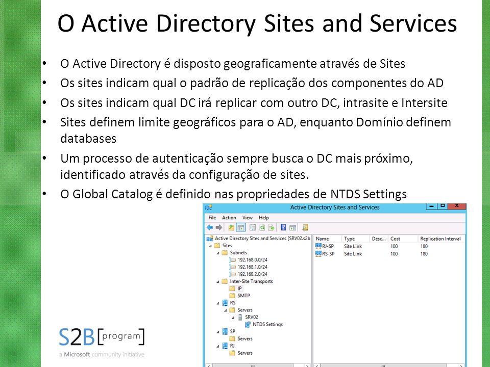 O Active Directory Sites and Services O Active Directory é disposto geograficamente através de Sites Os sites indicam qual o padrão de replicação dos