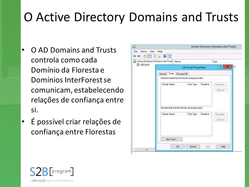 O Active Directory Domains and Trusts O AD Domains and Trusts controla como cada Domínio da Floresta e Domínios InterForest se comunicam, estabelecend