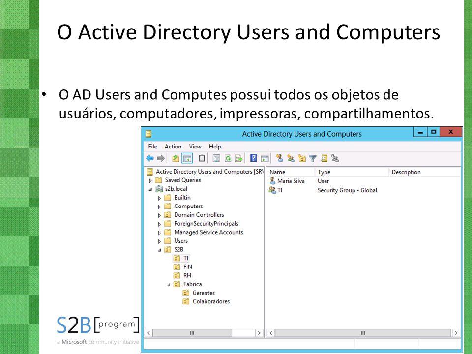 O Active Directory Users and Computers O AD Users and Computes possui todos os objetos de usuários, computadores, impressoras, compartilhamentos.