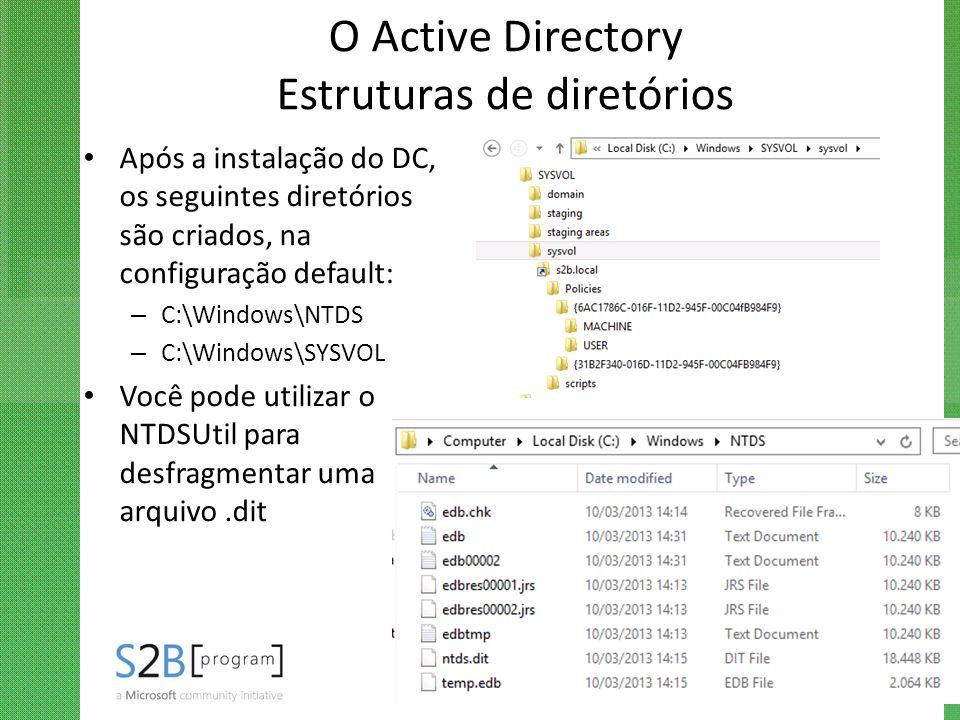 O Active Directory Estruturas de diretórios Após a instalação do DC, os seguintes diretórios são criados, na configuração default: – C:\Windows\NTDS –
