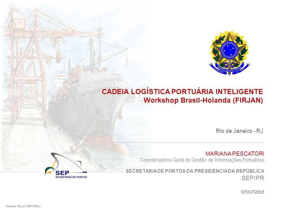 CADEIA LOGÍSTICA PORTUÁRIA INTELIGENTE Workshop Brasil-Holanda (FIRJAN) Rio de Janeiro - RJ Aquarela: PAULO MARTORELLI MARIANA PESCATORI Coordenadora-
