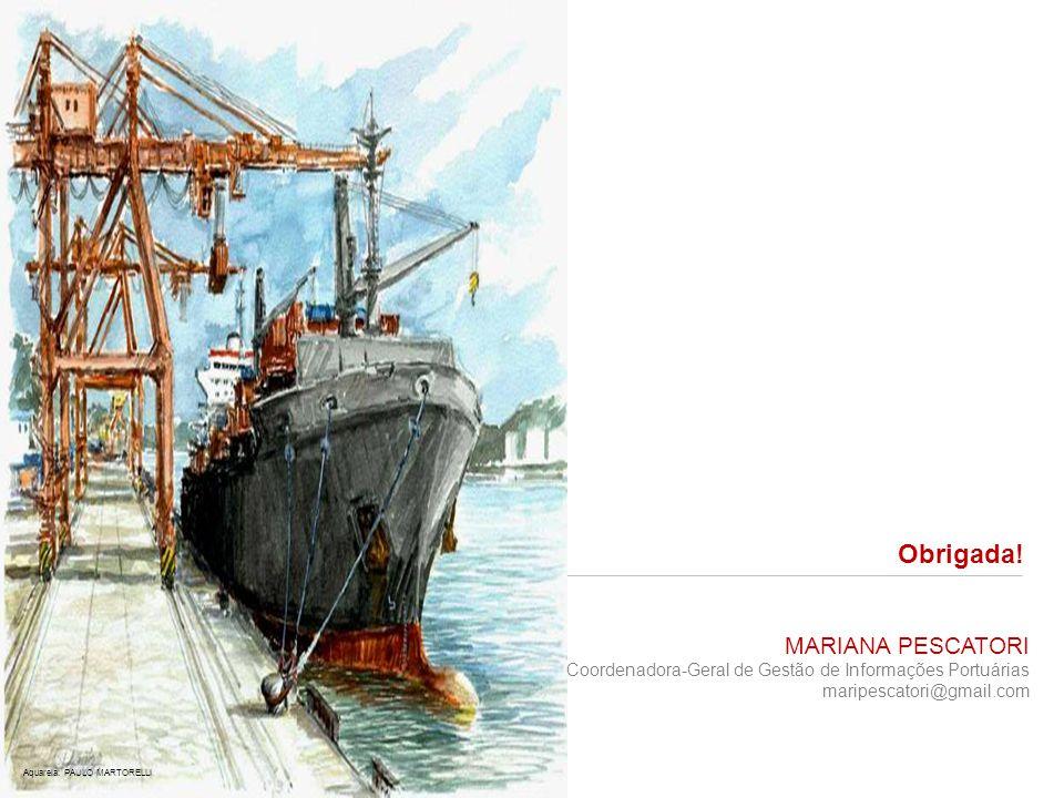 Obrigada! MARIANA PESCATORI Coordenadora-Geral de Gestão de Informações Portuárias maripescatori@gmail.com Aquarela: PAULO MARTORELLI